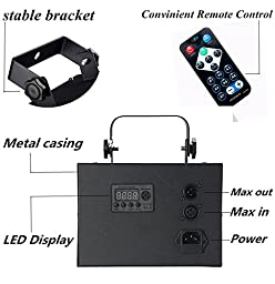 DJ lights,KINGSO Disco Dancing Lights with Remote Control 27W Lazer Light 3 Control Modes 9 Colors Changing RGB Sound Actived Magic Effect DMX512 Lighting for KTV Party Pub House(Black Metal Casing)