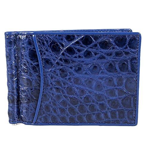 Slim Clip Credit Money Blue Leather Holder Wallet Crocodile Genuine Slim Bifold Card 4xqRFc8Iw