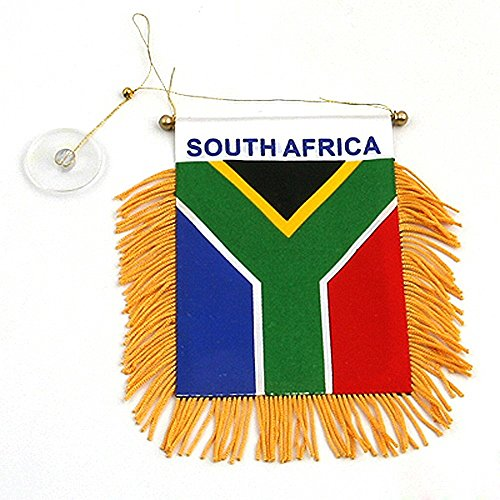 South Africa Small 4 X 6 Inch Mini Flag Banner Rearview Mirror South African flag Fringed Window Hanging