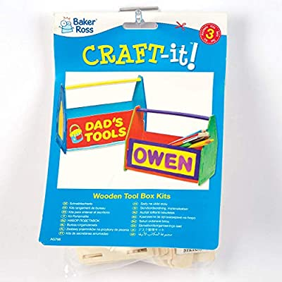 Baker Ross Design Your Own Tool Box Desk Tidy (Pack of 3) RT789, for Kids to Decorate, Display and Gift: Toys & Games