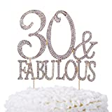 Ella Celebration 30 & Fabulous Cake Topper 30th Birthday Party Supplies Gold Decoration Toppers (Gold)