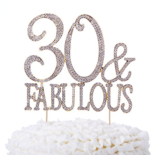 Ella Celebration 30 & Fabulous Cake Topper 30th Birthday Party Supplies Gold Decoration Toppers (Gold) by Ella Celebration