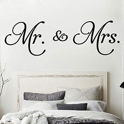 Ajcwhml Mr. & Mrs. Quotes Vinilo Tatuajes de Pared Decoración de la Sala Extraíble Minimalismo Moderno Etiqueta de La Pared para el Dormitorio Decoración del Hogar 40X127CM: Amazon.es: Hogar