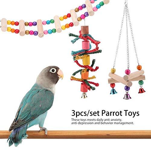 Bird Toys - 3pcs Set Toys Suspension Hanging Bridge Chain Pet Bird Chew Swing Cage Accessory - Ladder Chew Lovebirds Hammock Coconut Cats Perches Cockatiels Shreddable Large Shred Chain Bu