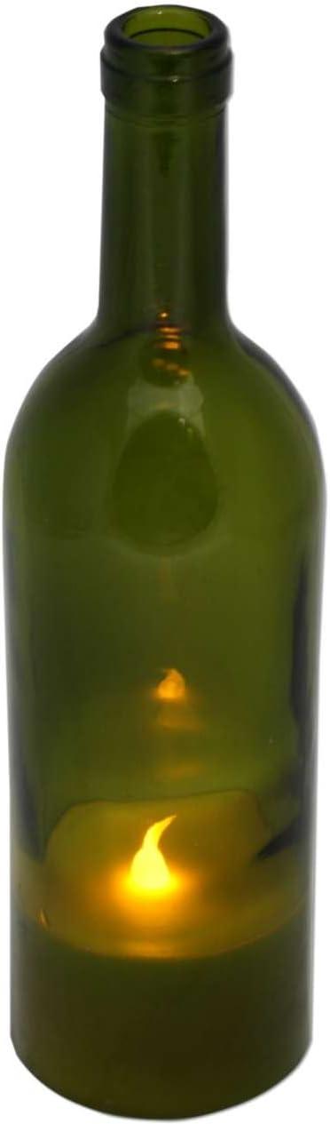 LED Vela en botella de vino (27cm Botellas de verde Bombilla