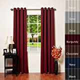 Best Home Fashion Basic Thermal Insulated Blackout Curtains - Antique Bronze Grommet Top - Burgundy - 52