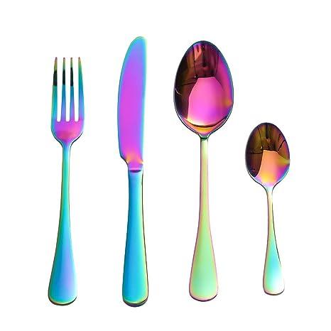LEKOCH de 4 Piece de acero inoxidable 18/10 Cuberterías incluyendo incluyen tenedores, cubiertos de cuchillos, cucharas para 1