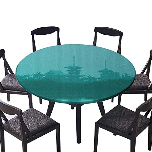 Simple Modern Round Table Cloth Various Temples Above The Sea Holy Tank in Fog Symbolic ith Custom Pagoda Mochrom or Everyday Dinner, Parties 59