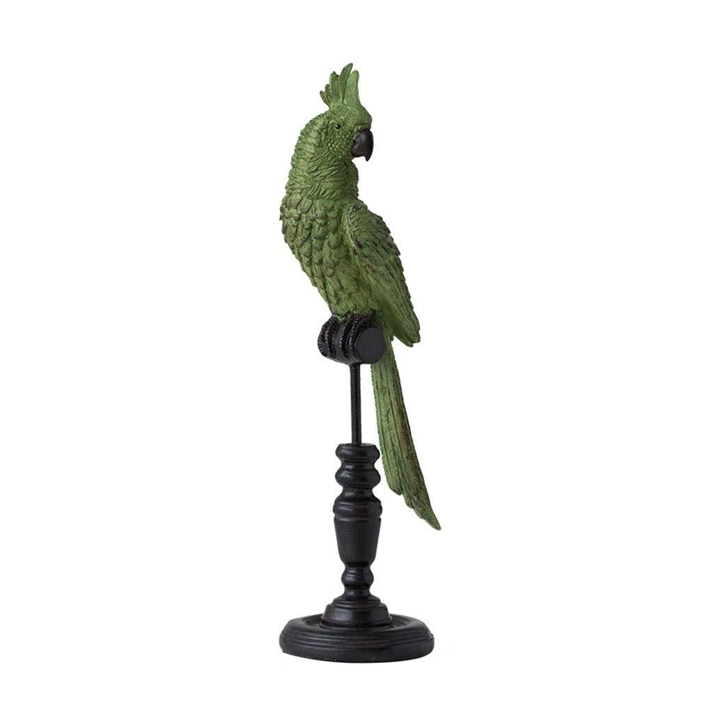 装飾材料 デスクトップ動物樹脂樹脂オウム家具家の装飾の装飾品研究工芸品像 (Color : Green, Size : 11*35.5cm) 11*35.5cm Green B07TH2Q368
