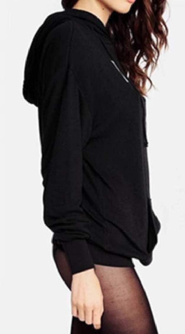 Sweatwater Womens Pullover Cute Cat Ear Letter Print Casual Hooded Sweatshirt