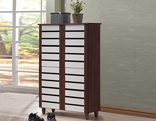 Baxton Studio Gisela Oak and White 2-Tone Shoe Cabinet with 4 Door (Oak Shoe Storage)