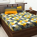 Bedspun Cotton Checkered 1 Double Bedsheet and 2 Pillow Cover – Yellow and Gray
