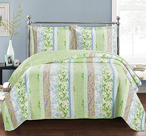 Hayley King / California-King Size, Over-Sized Coverlet 3pc set, Luxury Microfiber Printed Quilt by Royal Hotel