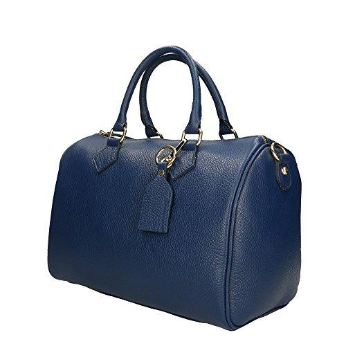 Borsa Mano Made Cm Italy30x21x17 Donna Aren Vera Pelle Blue Handbag A Da In IDWH29E