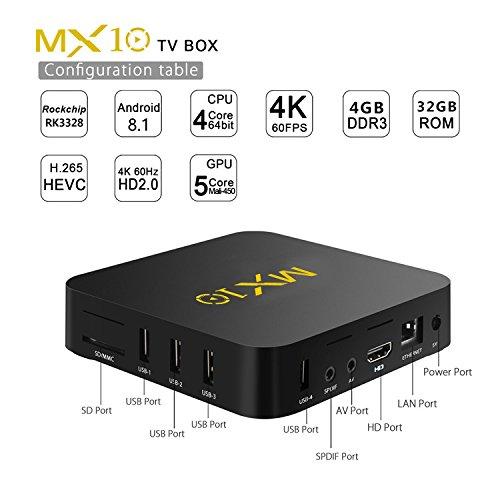 NEW R-TV BOX MX10 4G DDR3 RAM 32G ROM Rockchip RK3328 Android 8.1 Quad Core 64-Bit 4K USB 3.0 UHD WiFi H.265 TV Box Media Player by omikai (Image #2)