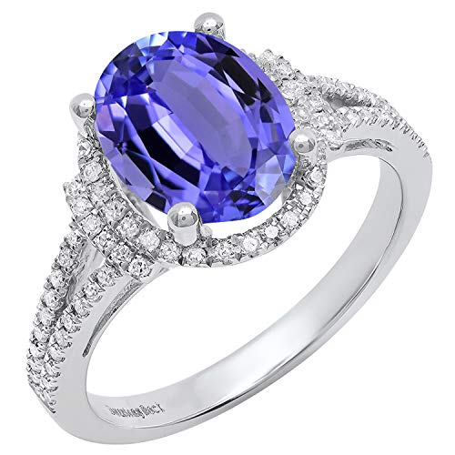 Dazzlingrock Collection 14K 10X8 MM Oval Tanzanite & Round White Diamond Ladies Halo Engagement Ring, White Gold, Size 10