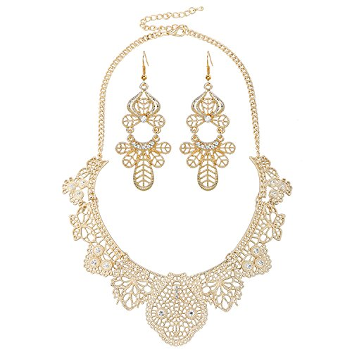 [D EXCEED Jewelry Womens Vintage Lace Pattern Statement Necklace and Earrings Set (Gold)] (Glamour Costumes 2016)