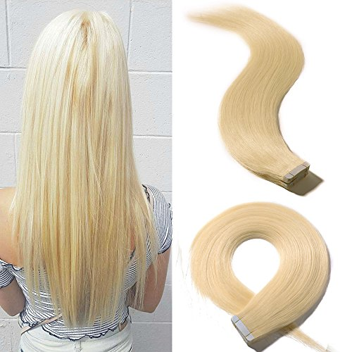 18 Inch Remy Tape in Human Hair Extensions 20pcs 30g/pack 60 Platinum White Blonde Long Straight Hair Seamless Skin Weft Invisible Double Sided Tape