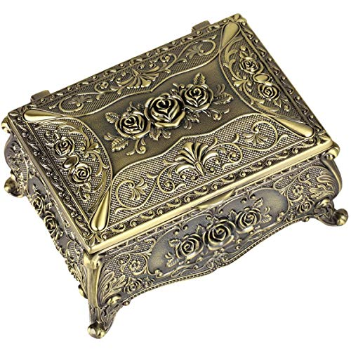 SUNYIK Vintage Bronze Rose Flower Rectangular Decorative Collectible Jewelry Trinket Box for Women