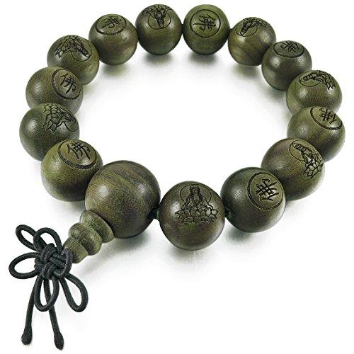 INBLUE Men,Women's 14mm Wood Bracelet Link Wrist Tibetan Buddhist Green Sandalwood Bead Prayer Buddha Mala Chinese knot Elastic