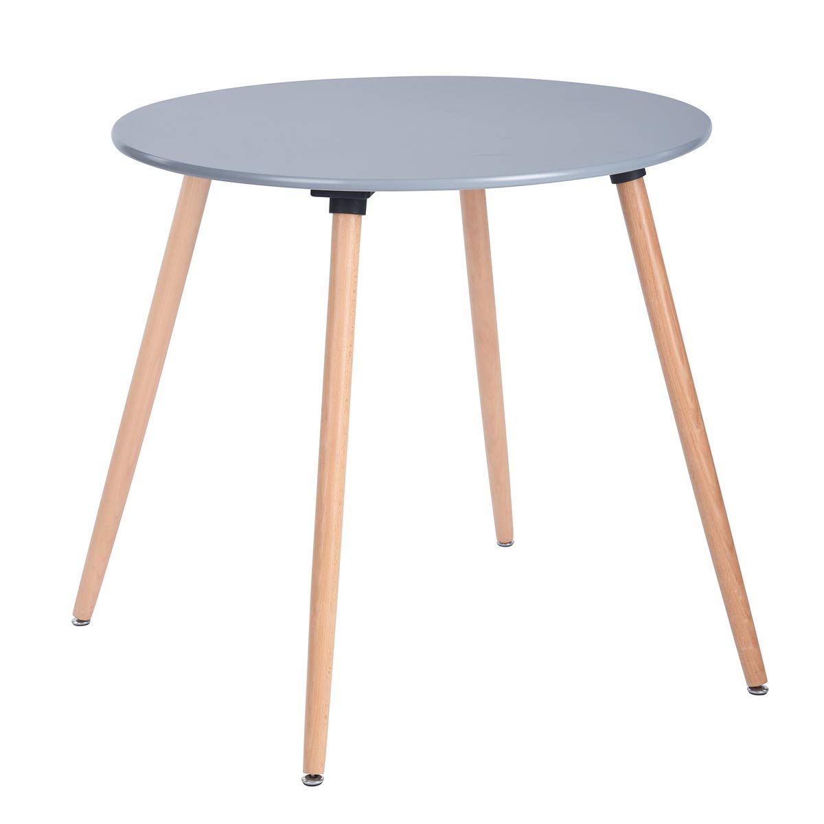 HOMY CASA Dining Table Round Coffee Table Mid Century Modern Kitchen Table Solid Wood Desk Grey
