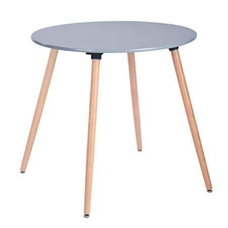 HOMY CASA Dining Table Round Coffee Table Mid Century Modern Grey Kitchen Table Solid Wood Desk