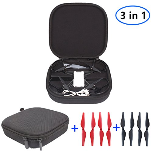 Handheld Portable Travel Protective Storage Case Shoulder Bag Carry suitcase + 4 Pair Quick Release Low-Noise Propellers for DJI Tello Drone Accessories