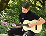 Left Handed Natural Wood Guitar with Case and