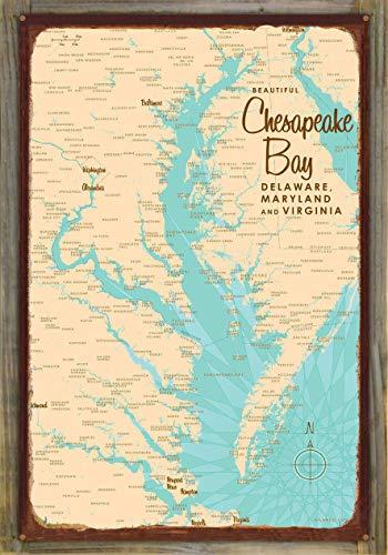 Chesapeake Bay MD Virginia Vintage-Style Map Rustic Metal Print on Reclaimed Barn Wood by Lakebound (24