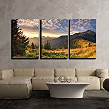 "wall26 - 3 Piece Canvas Wall Art - Colorful Autumn Landscape in the Mountains at Sunrise Nature Beaut - Modern Home Decor Stretched and Framed Ready to Hang - 16""x24""x3 Panels"