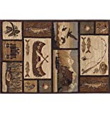 Cabin Getaway Novelty Lodge Pattern Brown Scatter Mat Rug, 2′ x 3′ Review