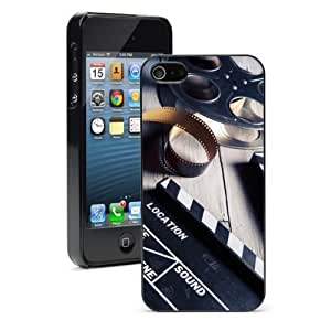 Apple iPhone 5c Hard Back Case Cover Color Movie Clapper Film Reel (Black)