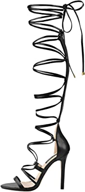 LISHAN Womens Gladiator Knee High Sandals Open Toe Lace Up Criss Cross Strappy Stiletto Heels