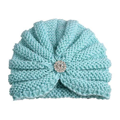 2018 Kids Hat Elastic Knitted Wool with Diamond Girls Beanie Cap Multicolor Children Turban Hat
