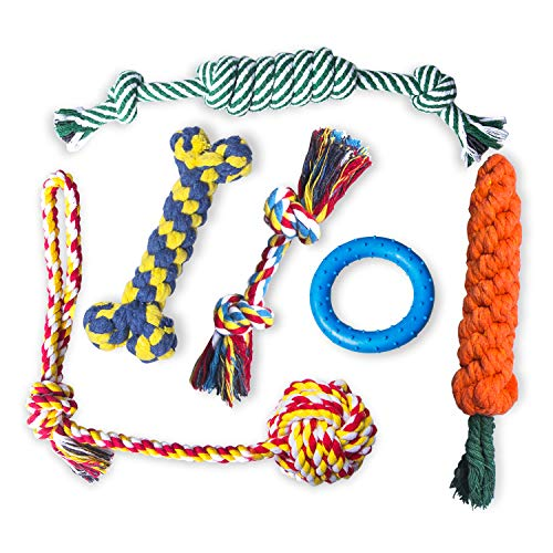 Petsvv Dog Toys for Small Dogs, 6 Pack Puppy Toys for Teething, Interactive Puppy Chew Toy, 100% Natural Cotton Ropes…