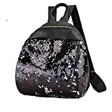 DDLBiz Women Girl Cute Holographic Backpack Travel Rucksack Shoulder Shiny Sequins School Bags (Black)