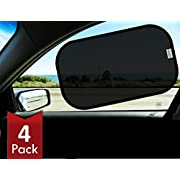 kinder Fluff Car Sun shade (4px) -80 GSM with 15s Film (highest possible) for full UV protection-2 Transparent and 2 Semi-Transparent Sunshades