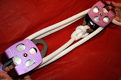 Twin sheave block and tackle 7500Lb pulley system 100 ft 1/2 Double Braid Rope