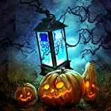 HSada Halloween Portable Small Lanterns LED Skull Pattern Lamp Lights Battery Operated Flameless LED Candle Halloween Lantern Decoration (Build in Battery)