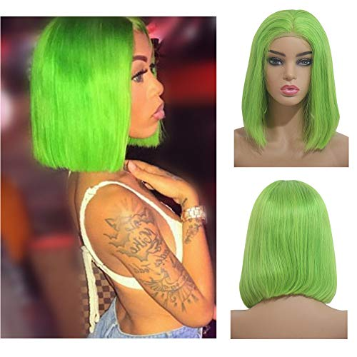 Loviness Pre-plucked Bob Lace Front Wigs Light Green Glueless 180% Density Short Cut Straight Virgin Human Hair With Baby Hair Full And Thick For Black Women(8 inches)