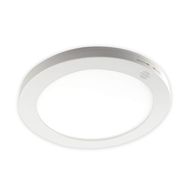 Panel de LED con detector de movimiento (Ø220 mm 18 W Colores conmutable blanco neutro blanco cálido luz diurna Aufputz plafón montaje panel aufputzl Ampe ...