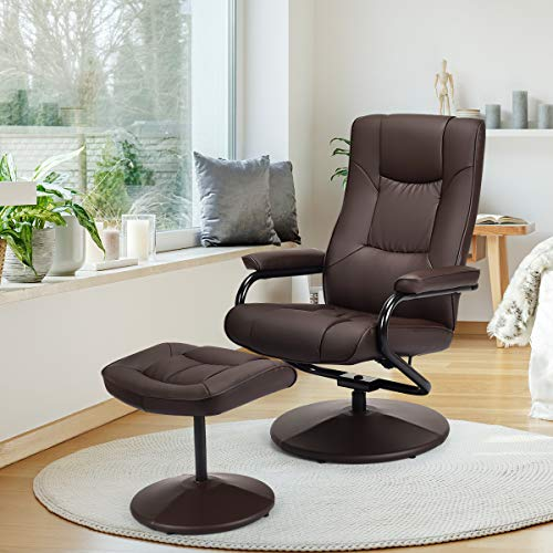 Giantex PU Leather Swivel Recliner Chair with Footrest Stool Ottoman Armchair Lounge Overstuffed Padded Seat, Leather Wrapped Base Home Office Use (Brown)