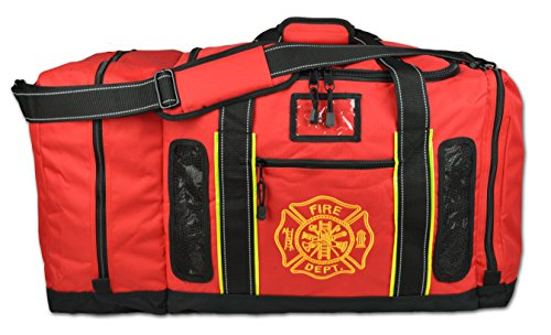 - Newly Redesigned Lightning X Firefighter Fireman Quad-Vent Turnout Gear Bag w/Helmet Compartment, Mesh Vents & Maltese Cross for First Responder (Red)