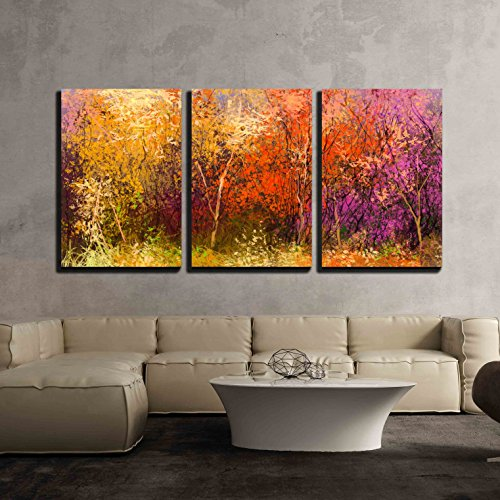 wall26 - 3 Piece Canvas Wall Art - Oil painting landscape - colorful autumn trees. - Modern Home Decor Stretched and Framed Ready to Hang - 24
