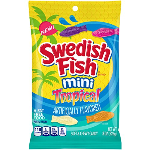 Swedish Fish Mini Tropical Fat Free Candy - 8 Ounce Bag (Pack of 12) -