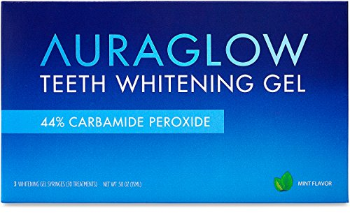- AuraGlow Teeth Whitening Gel Syringe Refill Pack, 44% Carbamide Peroxide, (3X) 5ml Syringes