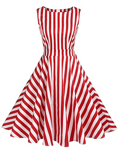 ACEVOG Women's 1950s Sleeveless Swing Vintage Party Dresses Printed Floral Stripes Dresses (Red and White, S)