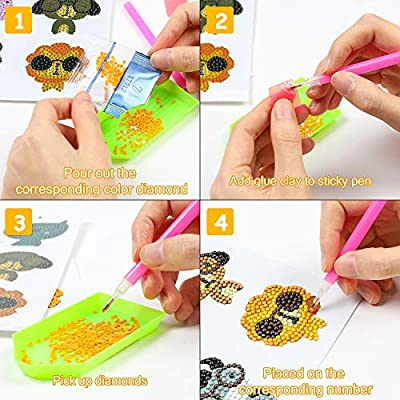 Ticiaga 5D DIY Diamond Painting Kits for Kids, Jungle Safari Theme Stick Paint with Diamonds by Number Kit Easy to DIY, Shine Sparkle Mosaic Stickers DIY Handmade Art Craft, 18pcs Animal Stickers: Toys & Games