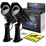 DIFEN Bullet Dummy Fake Security CCTV Solar Powered Camera Simulation Monitor with LED Blinking Light,Outdoor/Indoor Use for Homes & Business (2 Packs)
