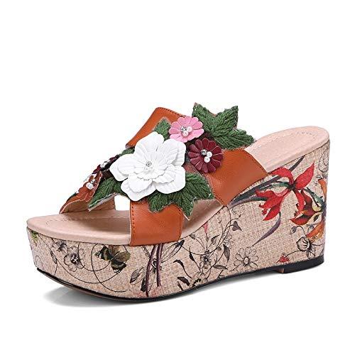 Hoesczs Mujer Zapatos Sandalias Zapatillas Flor 2018 Ocio 34 Moda Verano Plataforma 39 Genuino Orange Tamaño Cuero vxvFzqAwr